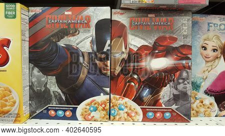 Chicago, Il April 24, 2016, Marvel Captain America Civil War Cereal Boxes On A Grocery Store Shelf W