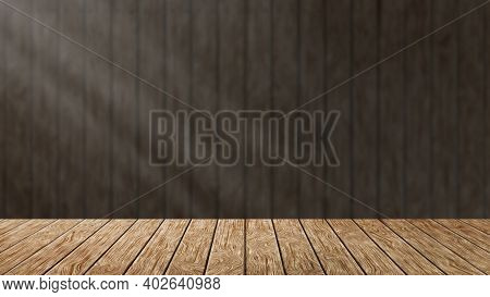 Empty Wood Table With Dark Background With Sunlight. Horizontal Illustration Wish Copy Space. Hardwo