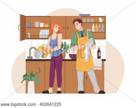 Couple Wash And Dry Dishes In Kitchen, Flat Cartoon People. Vector Man In Apron And Woman Doing Hous