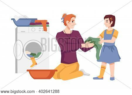 Woman With Her Daughter Washes Clothes, Puts Apparel Into Washing Machine, Laundry House Chores. Vec