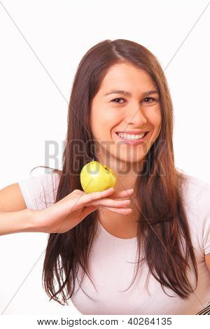 Pretty Woman With An Apple