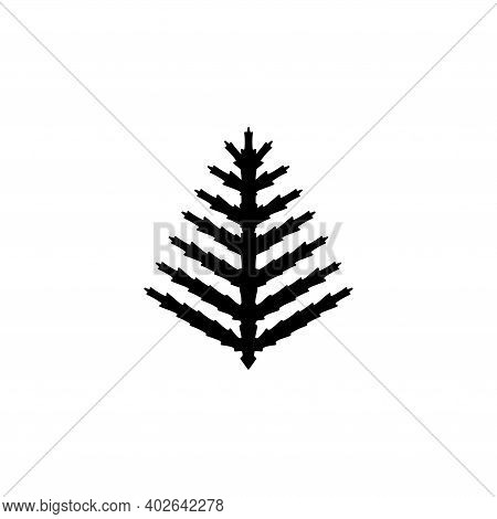 Fern Branch, Exotic Tropical Plant, Leaf. Flat Vector Icon Illustration. Simple Black Symbol On Whit