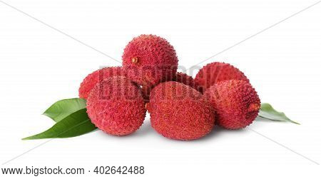 Pile Of Fresh Ripe Lychees With Green Leaves On White Background