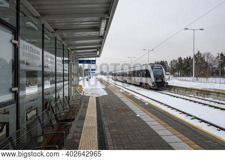 Gdansk, Poland - January 10, 2021: Platform Of Pomeranian Metropolitan Railway In Gdansk During Wint