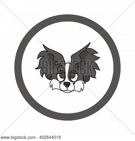 Cute Cartoon Papillon Face In Circle Puppy Vector Clipart. Pedigree Kennel Doggie Breed For Kennel C