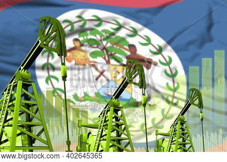 Belize Oil And Petrol Industry Concept, Industrial Illustration On Belize Flag Background. 3d Illust