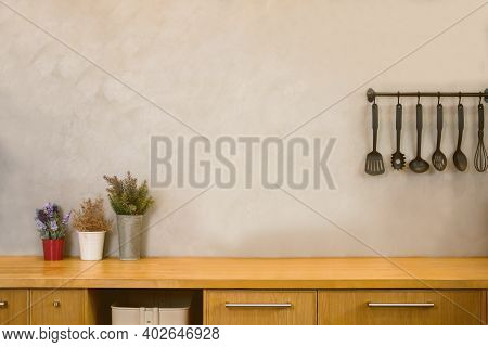 Modern Loft And Wood Texture Counter Kitchen With Empty Copy Space For Text. For Use Mockup Product