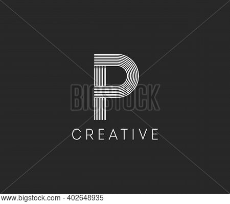 Capital Letter P. Made Of White Stripes Overlapping With A Shadow. Outstanding Professional Elegant