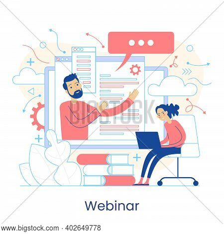 Webinar, Digital Classroom, Online Teaching, Internet Classes. Online Learning Metaphors. Educationa