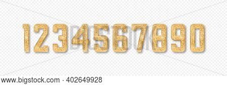 Golden Glitter Numbers. Set Of Numbers From 0 To 9 With Gold Glitter And Shadow Isolated On Transpar