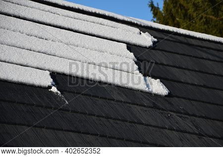 The Gray Plastic Shingles On The Roof Of The House Visually Look Like Those Made Of Wood. However, P