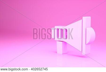 Pink Megaphone Icon Isolated On Pink Background. Speaker Sign. Minimalism Concept. 3d Illustration 3
