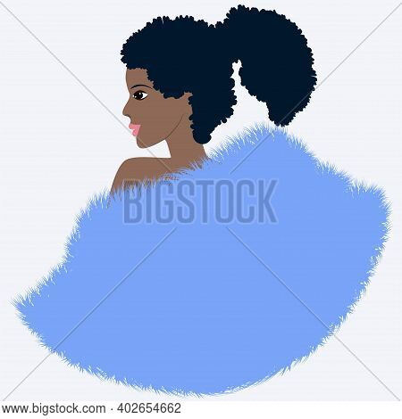 African Woman In A Blue Fur Coat - Isolated On White Background - Vector. Fashion Beauty. Faux Fur.
