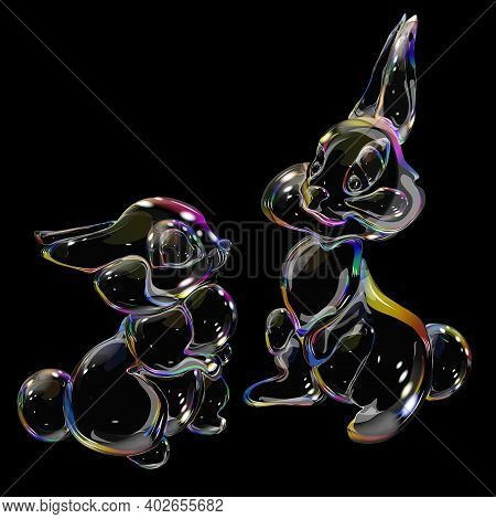 Rabbit Soap Bubble Shimmering Rainbow Glass Toy