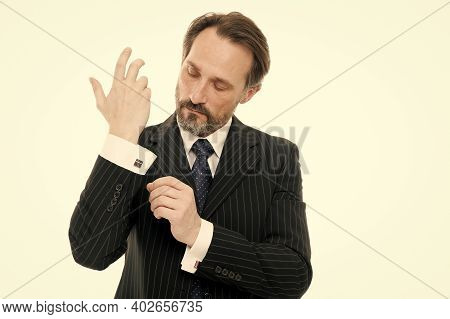 Impeccably Fashionable Style. Mature Man Button Fashionable Shirt Cuff. Fashionable Look Of Busy Man