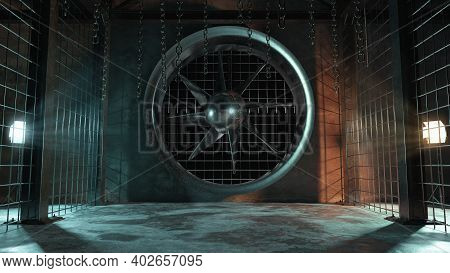3d Rendering Of Abstract Industrial Hall With Ventilation System And Hanging Chains