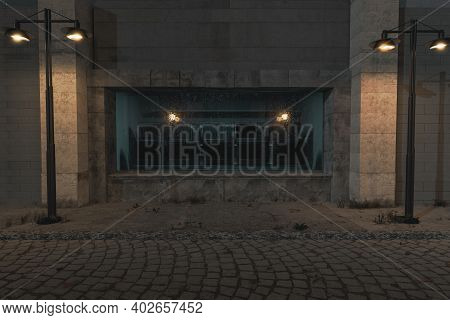 3d Rendering Of Blue Illuminated Showcase Full Of Old Televisions With Lighten Lantern In The Old To