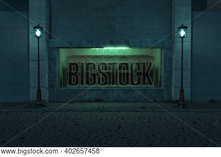3d Rendering Of Green Illuminated Showcase Full Of Old Televisions With Lighten Lantern In The Old T