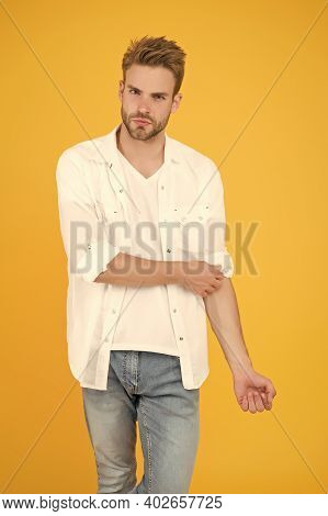 He Got Great Style. Portrait Of Millennial Man In Casual Clothes. Handsome Man Wear White Tshirt And