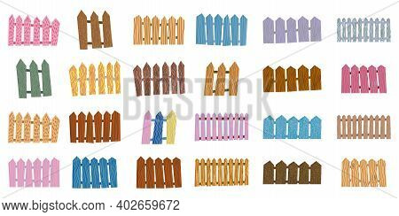 Set Of Fence Hand Drawn Illustration. Wooden Planks For Yard Territory Railing Silhouette Isolated O