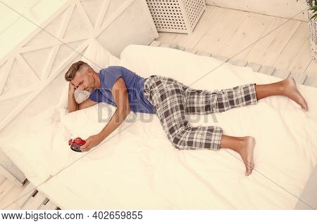 Sleeping Guy At Home. Sleep Disorders. Good And Healthy Sleep. Handsome Man In Bed. Depression Upon