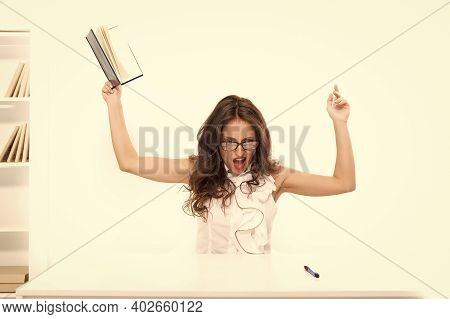 What The Hell Is Going On. Overworked Business Woman In Office. Sexy Lady With Red Lips. Tired Woman
