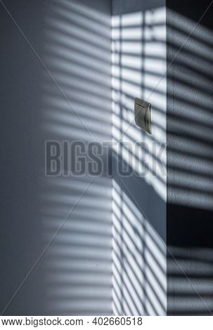Space Shadow. Sunlight Architecture Abstract Background With Light, Black Shadow Overlay From Window