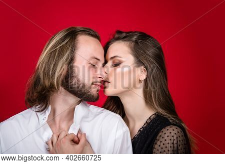 Couple In Love. Relationships Concept. Close Up Portrait Of Sensual Couple. Woman And Man Closeup. C