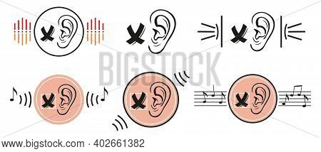 Deafness Lack Of Hearing Icon Set. No Sound. Human Ear Does Not Hear, Silence. Impairment Of Sensory