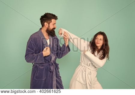 Defend Yourself. Sexy Girl Pick Fight With Hipster. Challenging Relations. Couple In Love Blue Backg