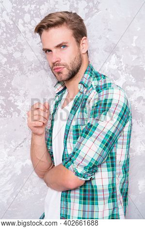Thoughtful Guy Checkered Shirt. Good Looking Unshaven Man. Concept. Mens Sensuality. Bristle Barber
