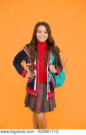 Little Girl Wear School Uniform. Primary, Secondary And Further Education. Education In United Kingd