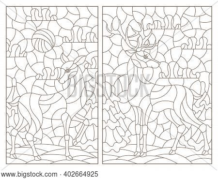 Set Of Contour Illustrations In Stained Glass Style With Deer On Landscape Background, Dark Outlines