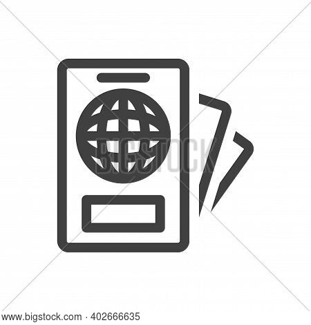 Passport And Important Documents Icon. A Simple Linear Image Of A Persons Identity Documents At Regi