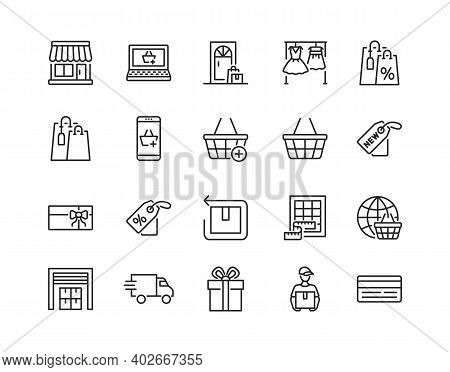 Online Store Flat Line Icon Set. Vector Illustration Included Symbols. Online Shopping, Contactless