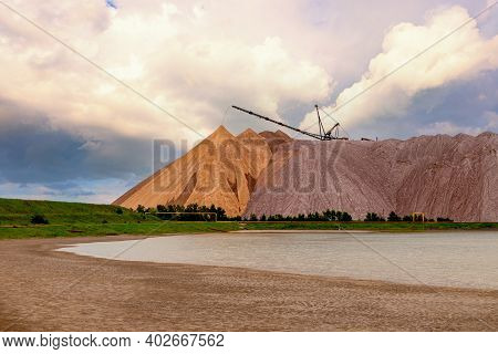 Belarus, Soligorsk. Artificial Mountains From Empty Rocks When Mining Potassium. Transportation Of A