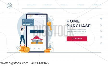 Home Purchase Online Homepage Template. Man Buys A House Paying By Credit Card And Phone. Mortgage,