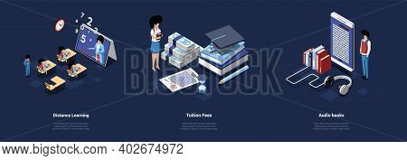 Education Concept Illustrations In Cartoon 3d Style. Three Different Isometric Vector Compositions O