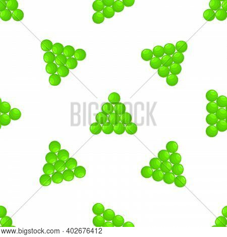 Illustration On Theme Of Bright Pattern Green Peas, Vegetable Pod For Seal. Vegetable Pattern Consis