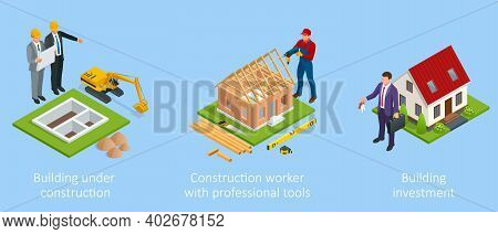 Isometric Set Stage-by-stage Construction Of A Brick House. House Building Process. House Constructi