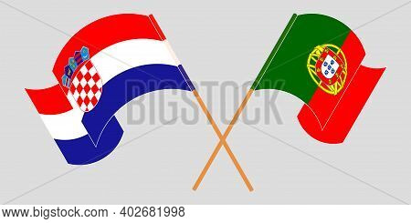 Crossed And Waving Flags Of Croatia And Portugal. Vector Illustration