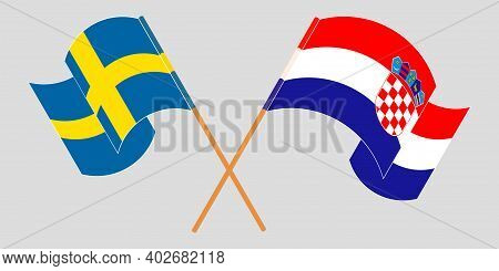 Crossed And Waving Flags Of Croatia And Sweden. Vector Illustration