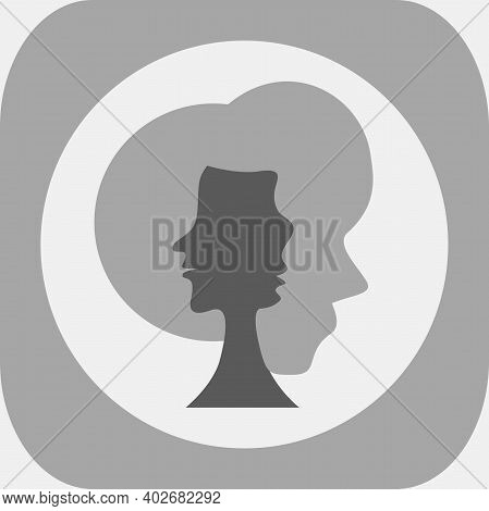 Optical Illusion. Three Human Faces In Silhouette. Colorless Vector Illustration.