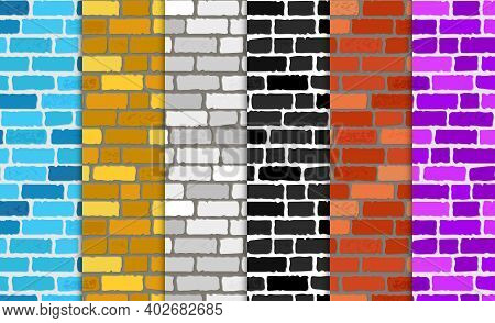 Realistic Different Color Brick Textures Collection. Brick Wall Seamless Background. Set Of Texture.
