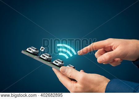 Intelligent Car App On Smart Phone Concept, Intelligent Vehicle And Smart Cars Concept. Person Searc
