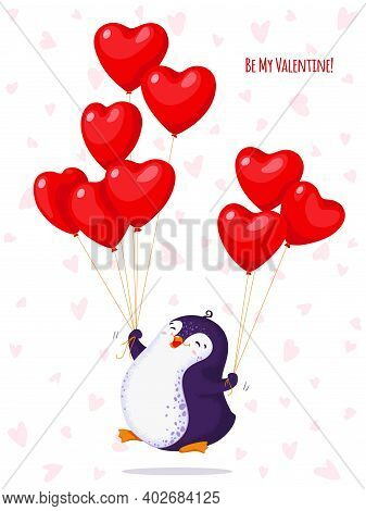 Greeting Card For Valentine Day With A Funny Jumping Penguin. Cartoon Penguin With Balloons-hearts.