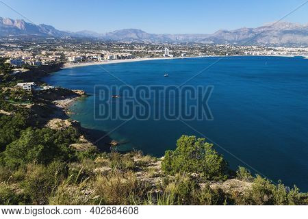 Panoramic View To The Ocean Bay Of Albir With Mountains In The Background Seen From Natural Park Ser