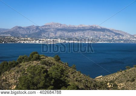Natural Park Serry Gelada With View To Altea Under Mountainrange And Ruin Of Ocher Mine Along The Co