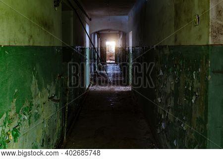 Dark Dirty Corridor Of Old Abandoned Building