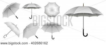 Set Of Realistic Umbrella In Various Type Or Mock Up Black And White Umbrella Closeup Or Outdoor Par